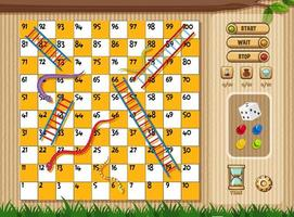 Snake and ladder game with tree and grass vector