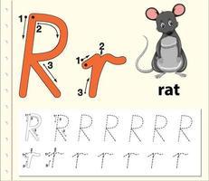 foglio di lavoro alfabeto di tracciamento lettera r con ratto vettore