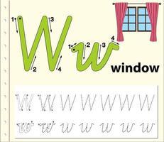 letter w tracing alfabet werkblad