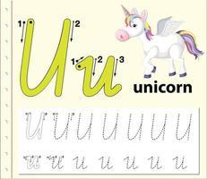 letter u tracing alfabet werkblad