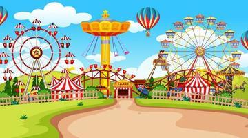 Empty fun fair amusement park  vector