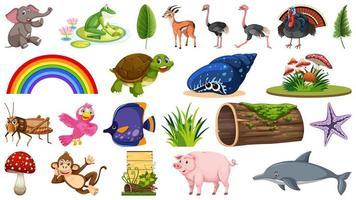 Conjunto de diferentes animales y objetos vegetales. vector
