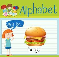 La letra b de la flashcard es para el diseño de hamburguesas. vector