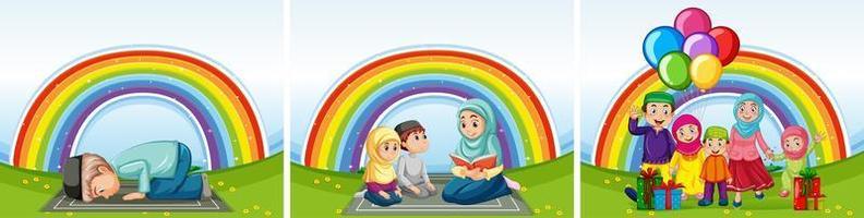 conjunto de famílias muçulmanas árabes e fundo do arco-íris