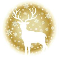 Reindeer on a round winter design with snowflakes  vector