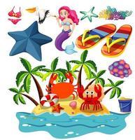 Set of summer beach icons vector