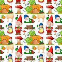 Gnome and pumpkin house seamless pattern in cartoon style vector