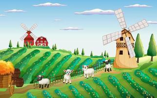 Escena de la granja en la naturaleza con molino de viento y ovejas.