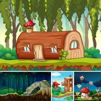 Four different scenes of fantasy world  vector
