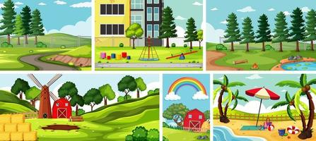 seis escenas de la naturaleza con diferentes lugares hermosos