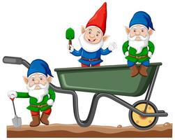 Gnomes with haul cart cartoon style  vector
