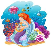 Set of mermaid and sea animals cartoon  vector