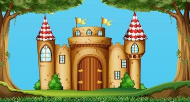 Cartoon style castle in the field