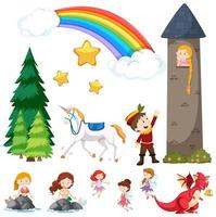 conjunto de elementos de contos de fadas infantis