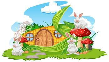 Corn house with three rabbits in cartoon style vector
