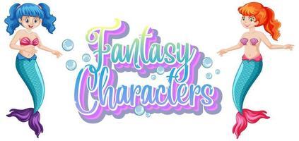 personajes de fantasía de sirena vector