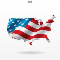 Map of the USA with American flag pattern vector