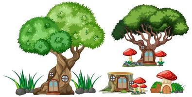 Set of isolated tree and stump houses