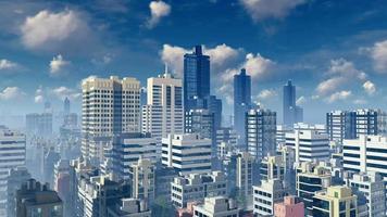 grattacieli astratti della grande città al lasso di tempo diurno