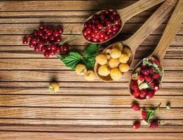 Strawberries, Raspberries, Red currant . Agriculture, Gardening, Harvest Concept.