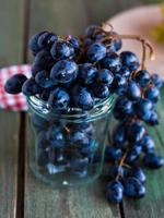 twig of blue grapes in a glass