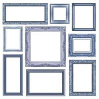 set of blue frame with blank space, clipping path, photo