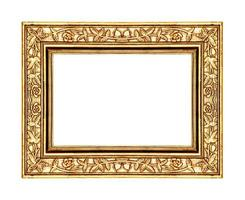 gold rose frame isolated on white background and clipping path photo