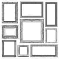 set of Vintage gray frame with blank space, clipping path photo