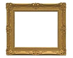 An empty ornate gold picture frame