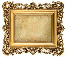 baroque style golden picture frame with canvas photo