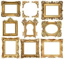 Golden picture frames. Baroque style antique objects photo