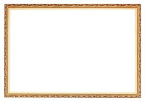 narrow carved ancient gold wooden picture frame photo