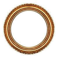 Old retro round wooden picture frame photo