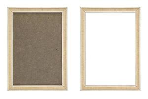 old white picture frame with and without fiberboard background, photo