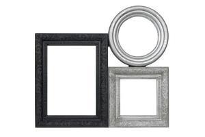 conjunto de marcos de cuadros tallados en negro y plata foto