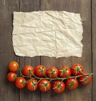 Cherry tomatoes and craft paper