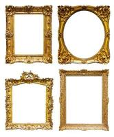Set of old bronze frames. Isolated over white background photo