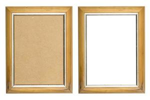 old wooden picture frame with and without fiberboard background, photo