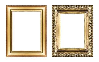 set of vintage golden frame , blank space  isolated on white photo