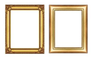 set of vintage golden fram, blank space isolated on white photo