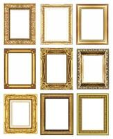 set 9 of vintage gold frame isolated on white background. photo