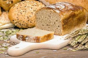 Freshly baked loaf of bread photo