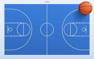 Top down view of basketball and court vector
