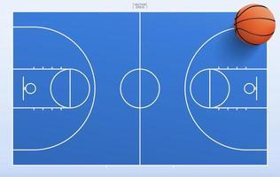 vue de haut en bas du basket-ball et du terrain vecteur