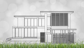 Imagen conceptual del bastidor de alambre de la casa con césped vector