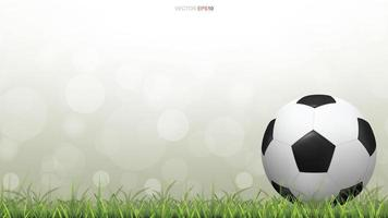 Soccer or football on grass field with green bokeh vector