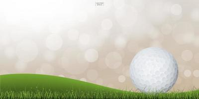 Golf ball on green hill with light blurred bokeh vector