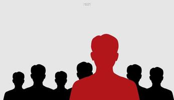 líder del concepto de grupo con siluetas rojas y negras vector