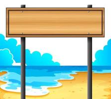 An empty wooden signboard at the beach vector