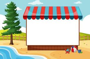 Blank banner with awning in beach scene